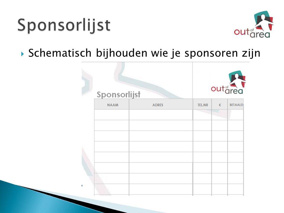 Sponsorlijst Schematisch bijhouden wie je sponsoren zijn