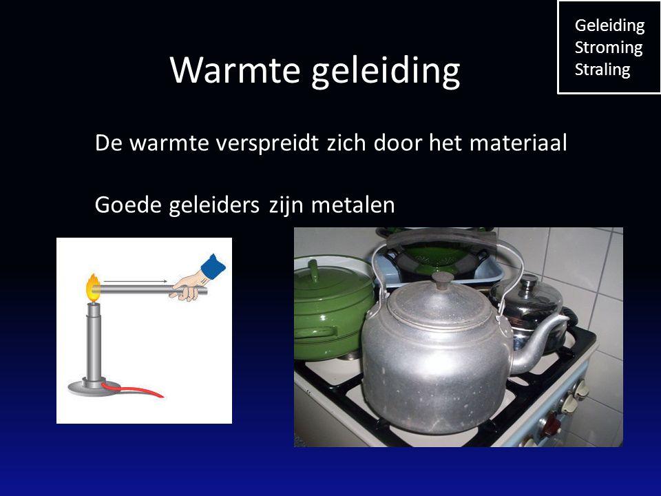 Warmte geleiding De warmte verspreidt zich door het materiaal