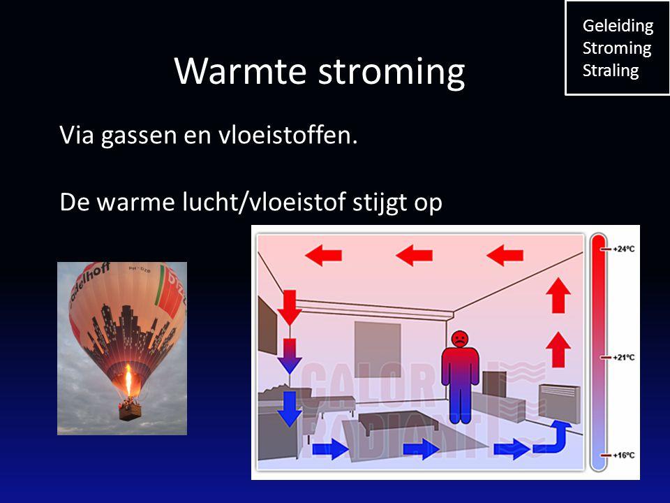 Warmte stroming Via gassen en vloeistoffen.
