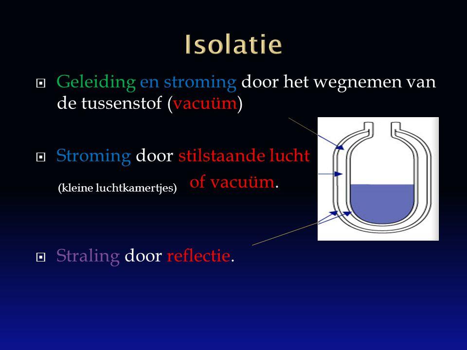 Isolatie Geleiding en stroming door het wegnemen van de tussenstof (vacuüm) Stroming door stilstaande lucht.