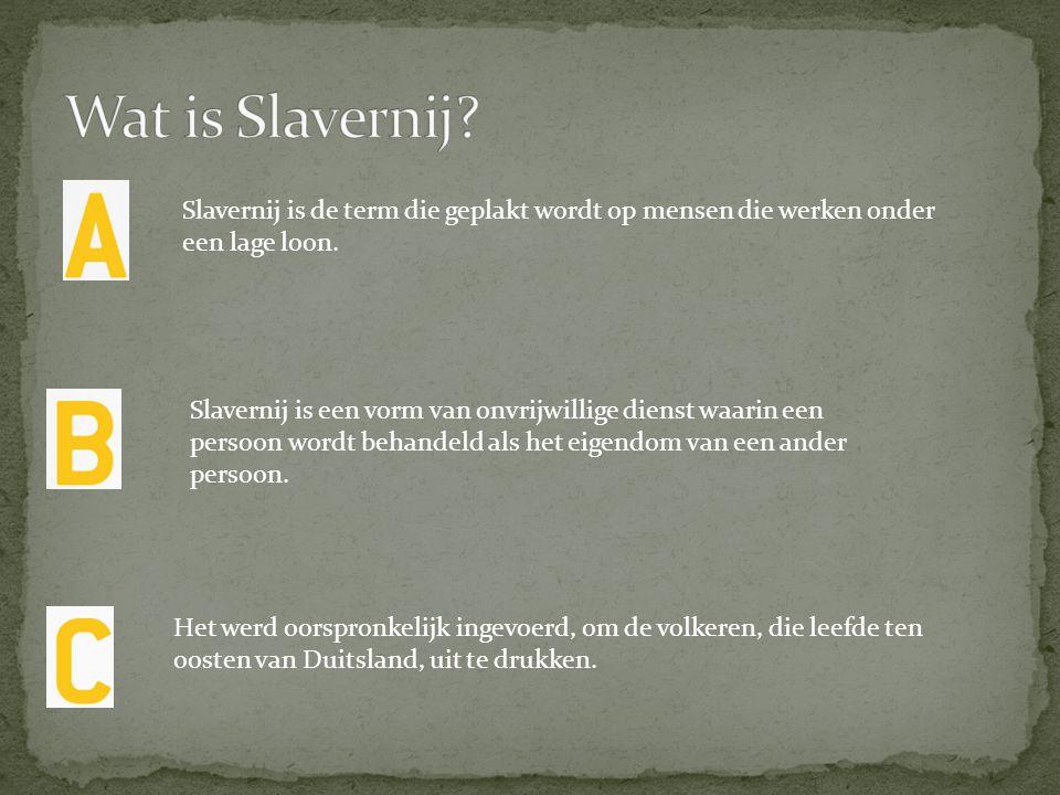 Wat is Slavernij Slavernij is de term die geplakt wordt op mensen die werken onder een lage loon.