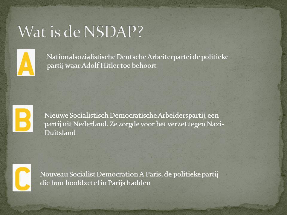 Wat is de NSDAP Nationalsozialistische Deutsche Arbeiterpartei de politieke partij waar Adolf Hitler toe behoort.