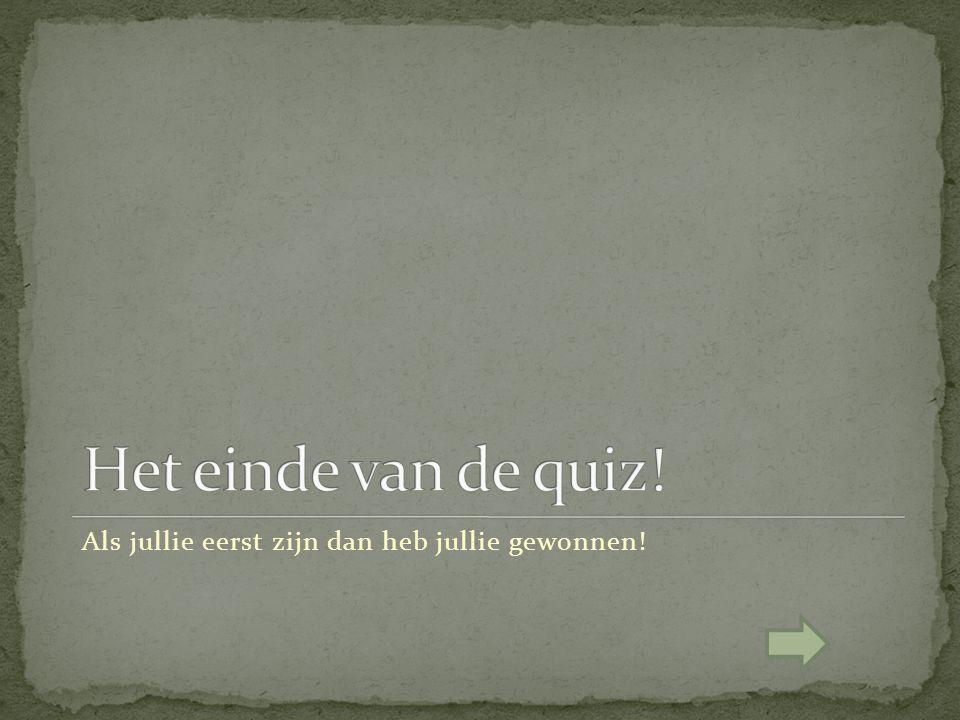 Het einde van de quiz! Als jullie eerst zijn dan heb jullie gewonnen!
