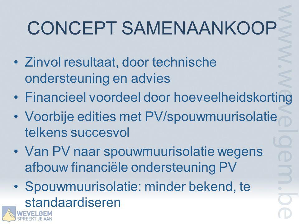 CONCEPT SAMENAANKOOP Zinvol resultaat, door technische ondersteuning en advies. Financieel voordeel door hoeveelheidskorting.