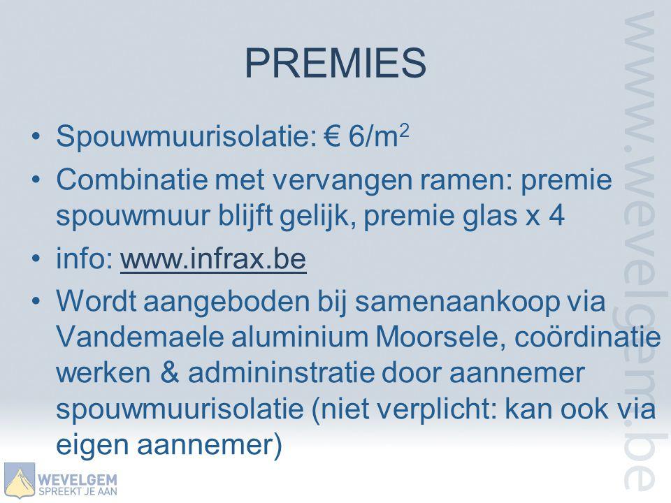 PREMIES Spouwmuurisolatie: € 6/m2
