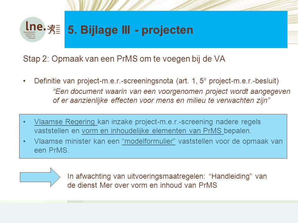 5. Bijlage III - projecten