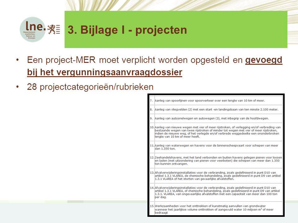 3. Bijlage I - projecten Een project-MER moet verplicht worden opgesteld en gevoegd bij het vergunningsaanvraagdossier.