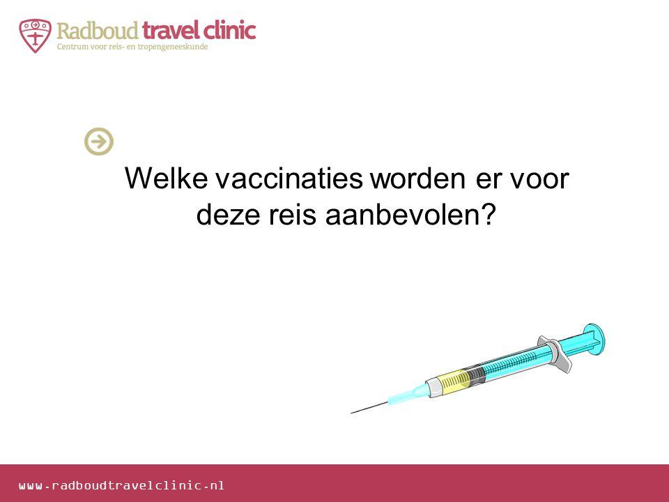 Welke vaccinaties worden er voor deze reis aanbevolen