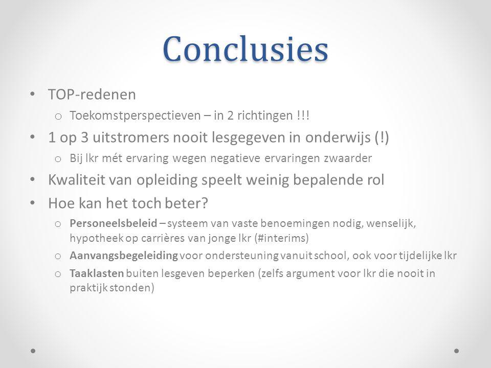Conclusies TOP-redenen