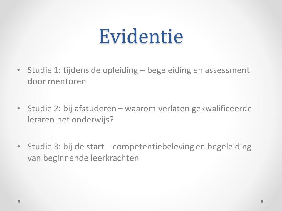 Evidentie Studie 1: tijdens de opleiding – begeleiding en assessment door mentoren.