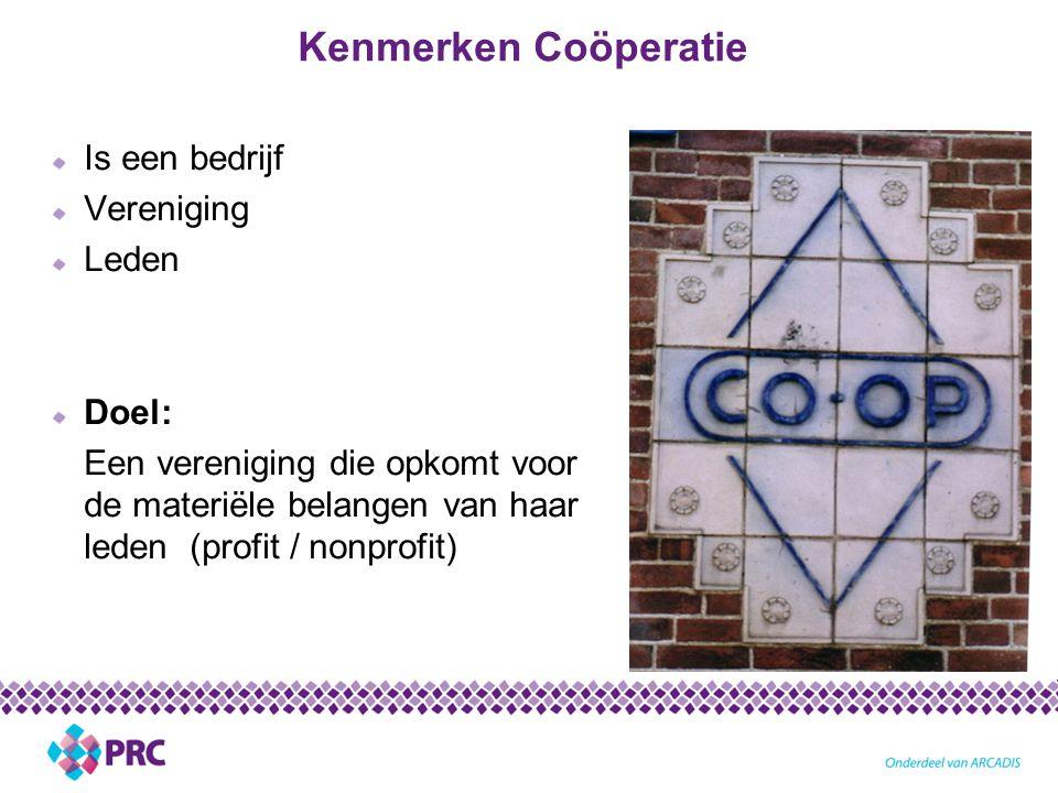 Kenmerken Coöperatie Is een bedrijf Vereniging Leden Doel: