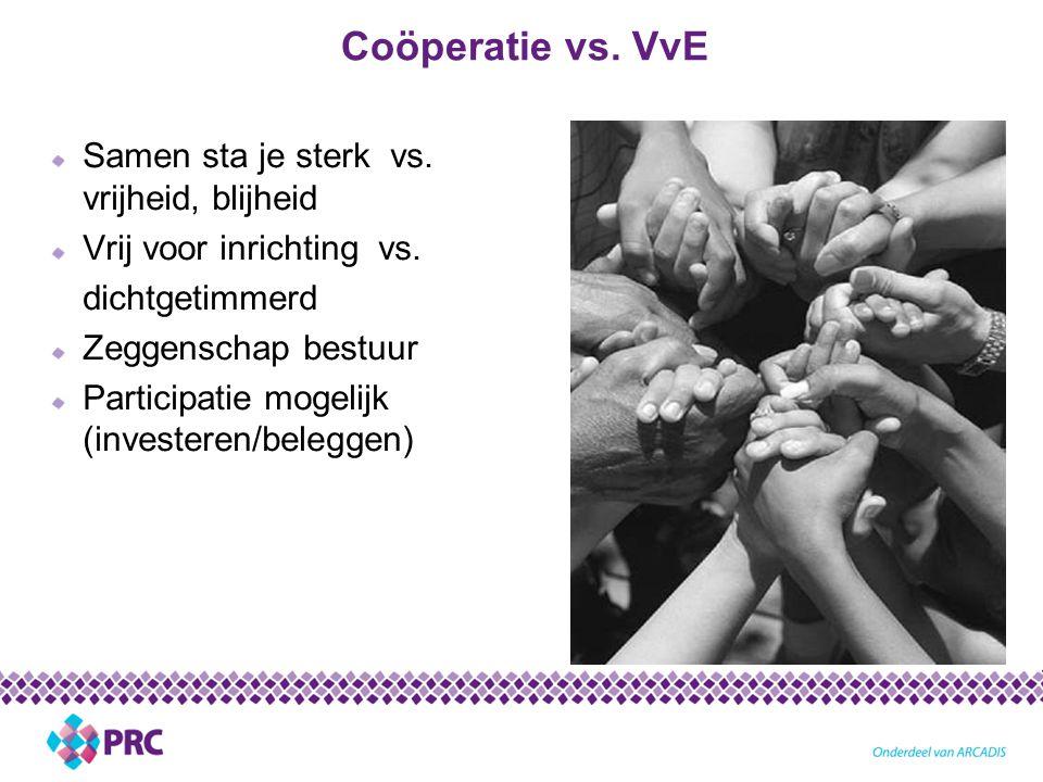 Coöperatie vs. VvE Samen sta je sterk vs. vrijheid, blijheid