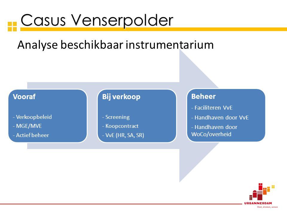 Casus Venserpolder Analyse beschikbaar instrumentarium Vooraf