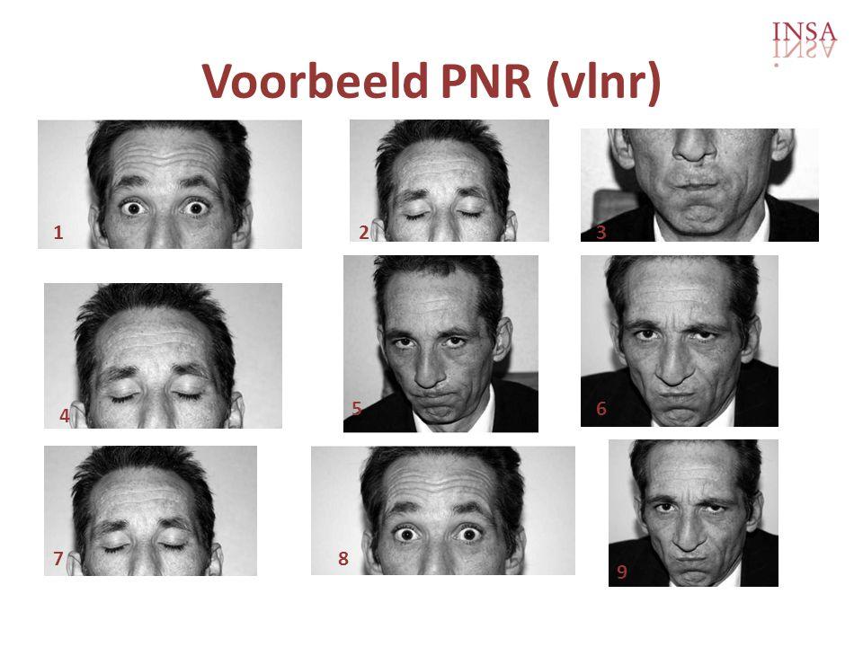 Voorbeeld PNR (vlnr) 1 2 3 5 6 4 7 8 9