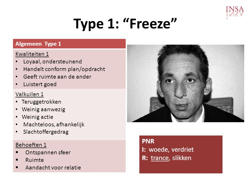 Type 1: Freeze PNR I: woede, verdriet R: trance, slikken