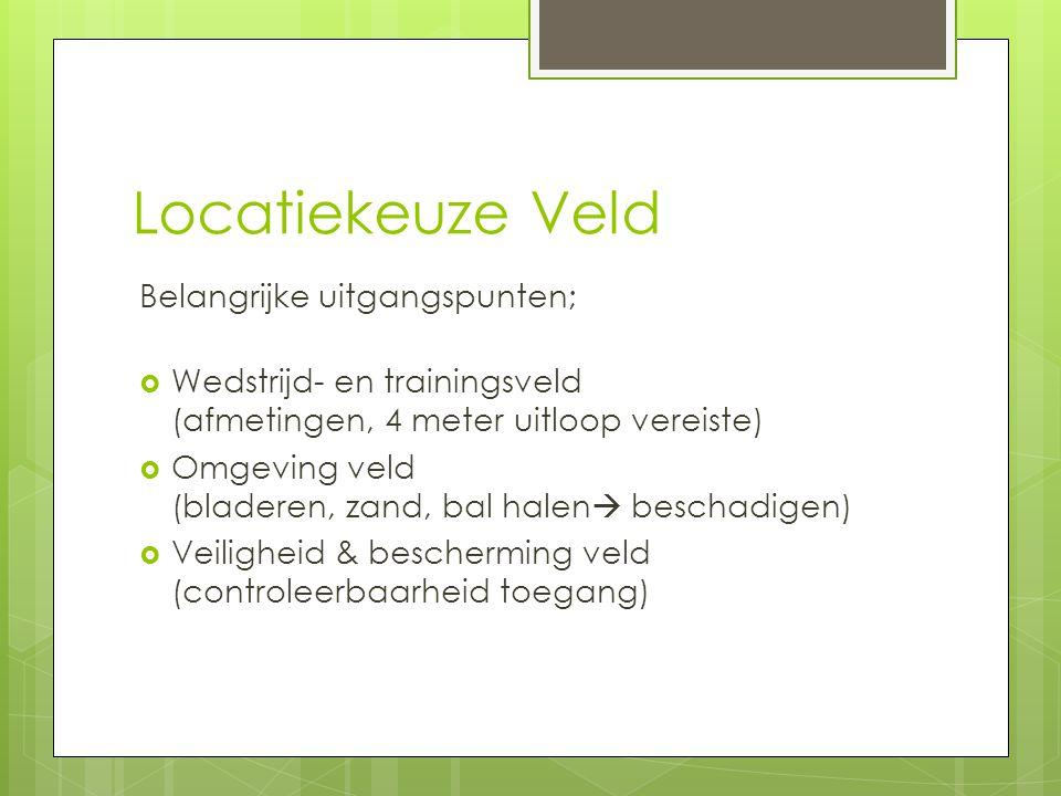 Locatiekeuze Veld Belangrijke uitgangspunten;