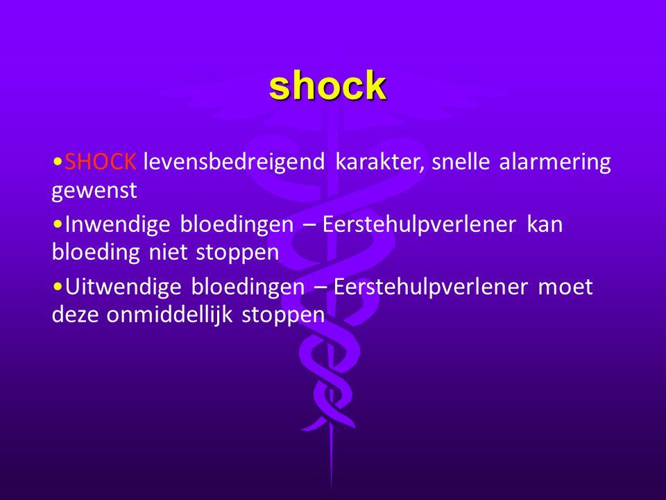 shock SHOCK levensbedreigend karakter, snelle alarmering gewenst