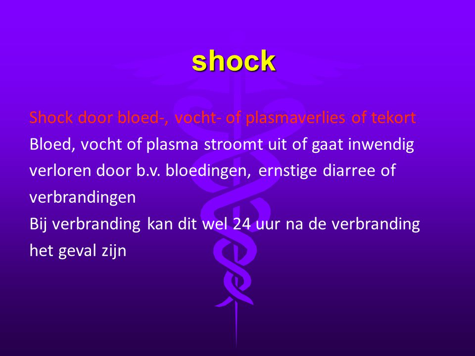 shock Shock door bloed-, vocht- of plasmaverlies of tekort