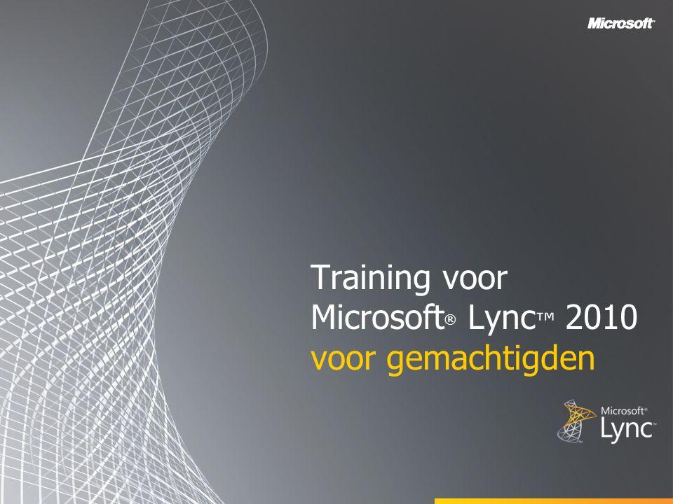 Training voor Microsoft® Lync™ 2010 voor gemachtigden