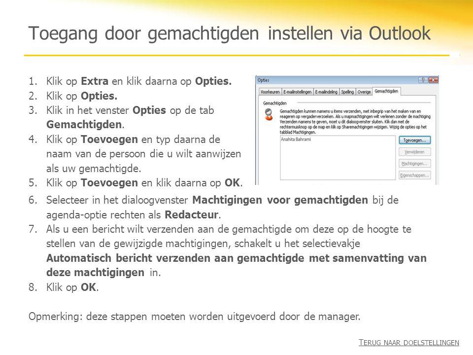 Toegang door gemachtigden instellen via Outlook