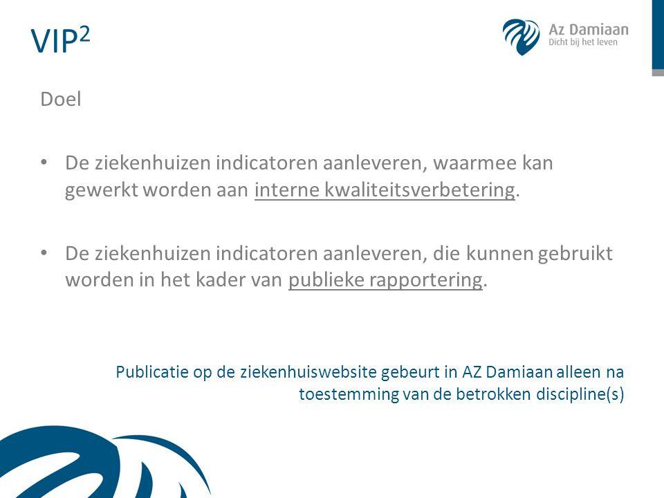 VIP2 Doel. De ziekenhuizen indicatoren aanleveren, waarmee kan gewerkt worden aan interne kwaliteitsverbetering.