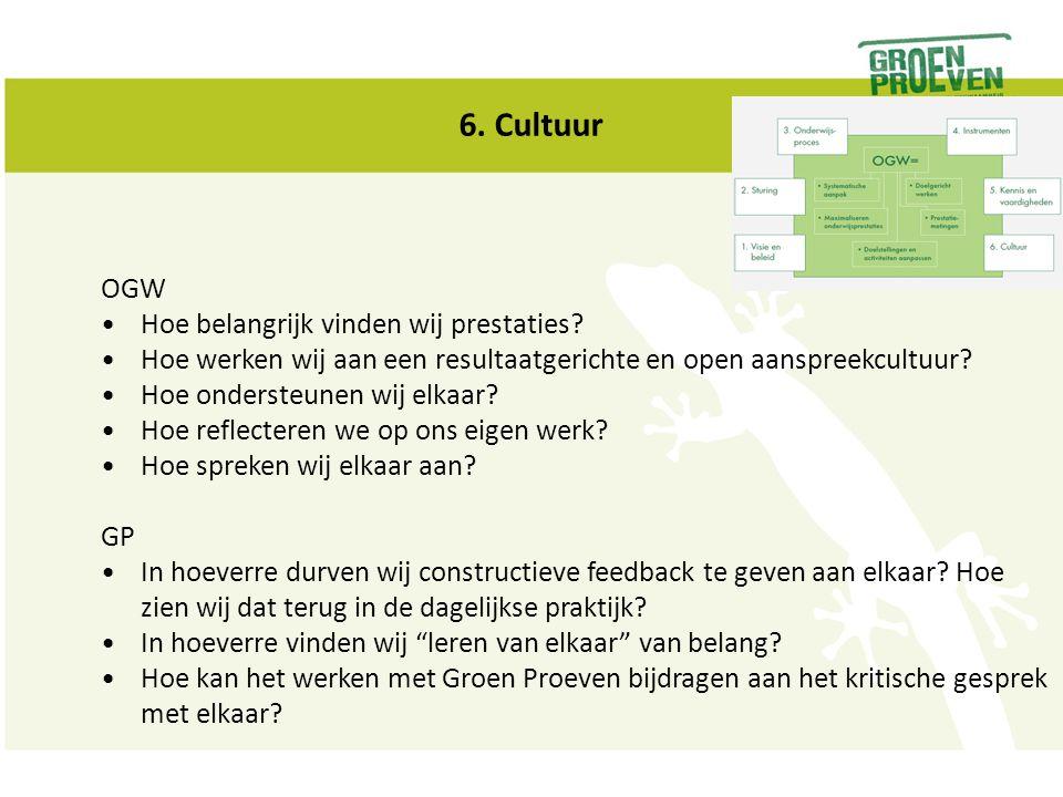 6. Cultuur OGW Hoe belangrijk vinden wij prestaties