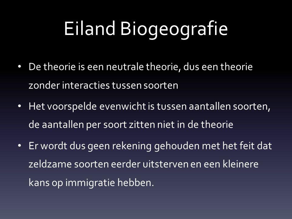 Eiland Biogeografie De theorie is een neutrale theorie, dus een theorie zonder interacties tussen soorten.
