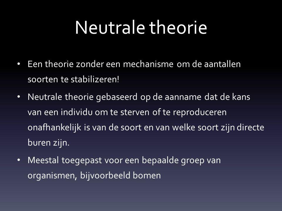 Neutrale theorie Een theorie zonder een mechanisme om de aantallen soorten te stabilizeren!