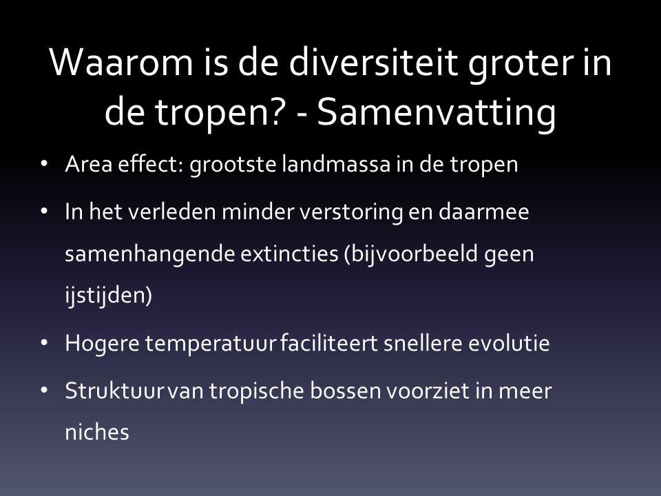 Waarom is de diversiteit groter in de tropen - Samenvatting