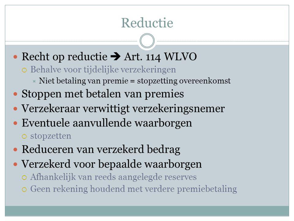 Reductie Recht op reductie  Art. 114 WLVO