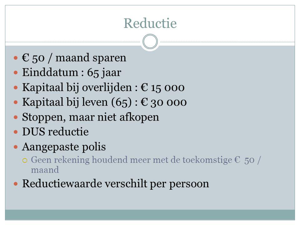 Reductie € 50 / maand sparen Einddatum : 65 jaar