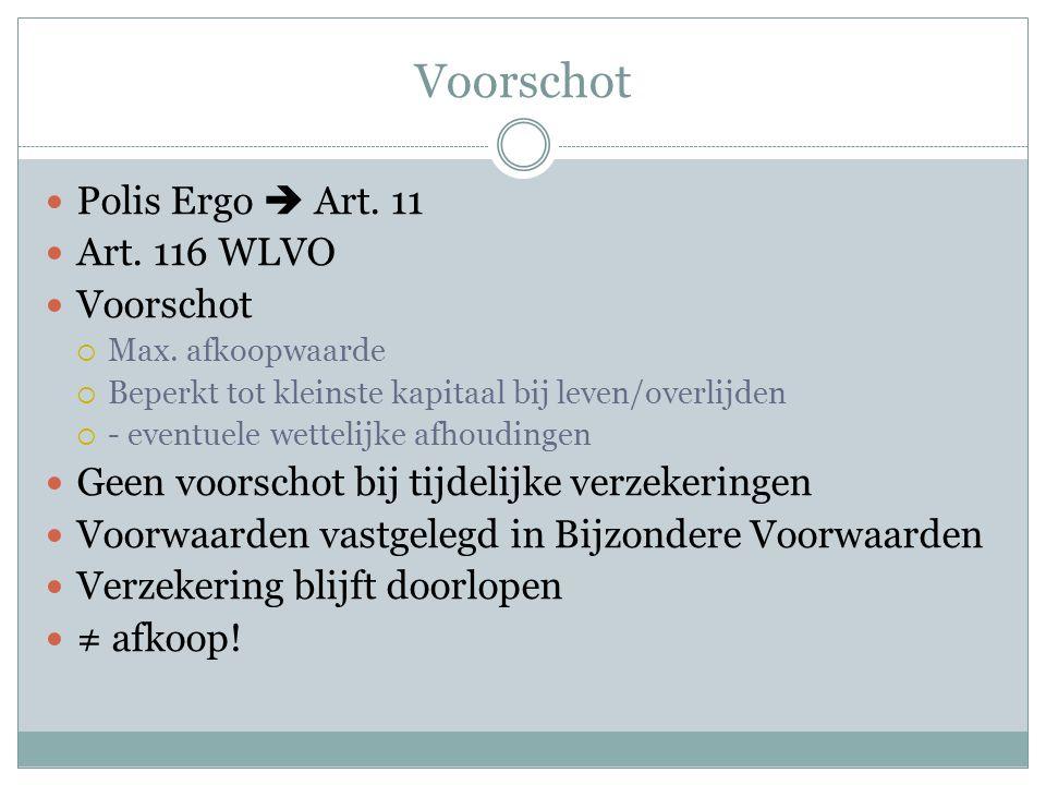 Voorschot Polis Ergo  Art. 11 Art. 116 WLVO Voorschot