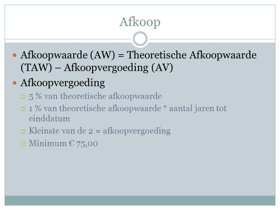 Afkoop Afkoopwaarde (AW) = Theoretische Afkoopwaarde (TAW) – Afkoopvergoeding (AV) Afkoopvergoeding.