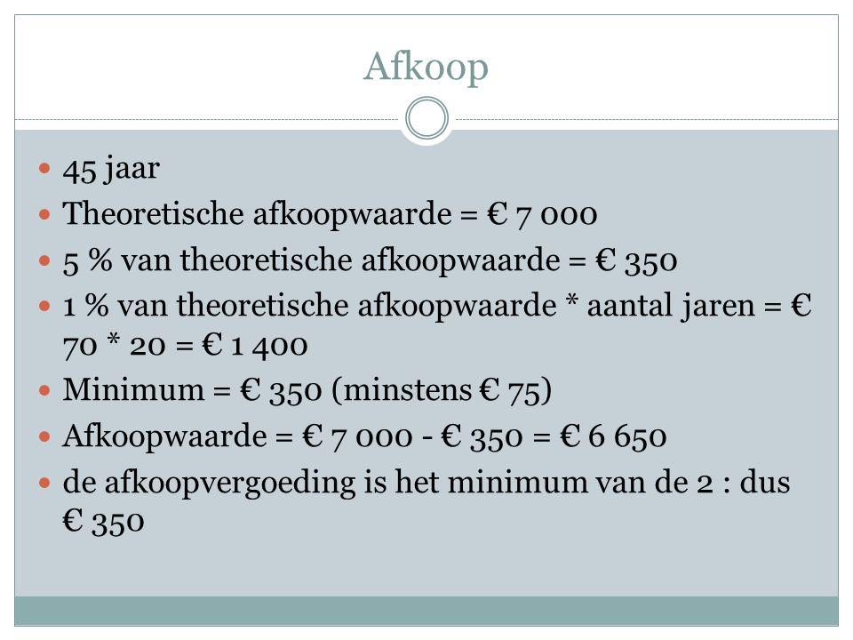 Afkoop 45 jaar Theoretische afkoopwaarde = € 7 000