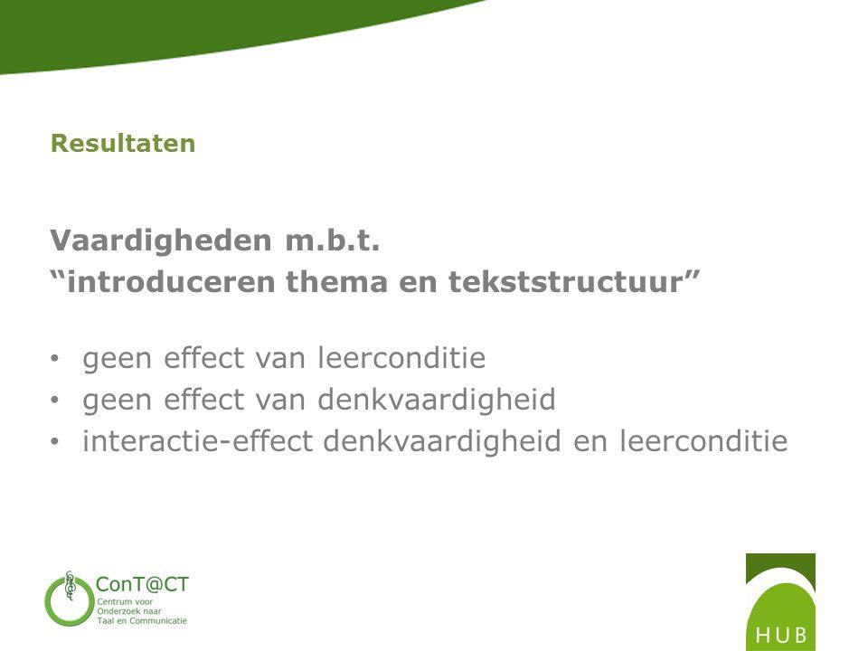 introduceren thema en tekststructuur geen effect van leerconditie