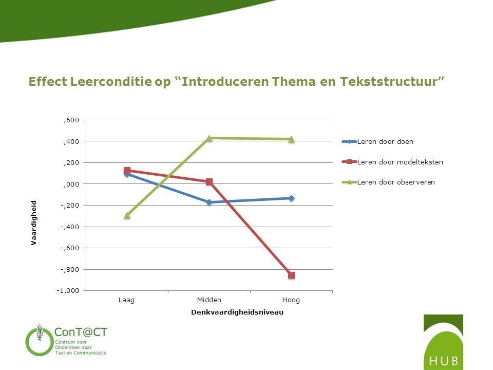 Effect Leerconditie op Introduceren Thema en Tekststructuur
