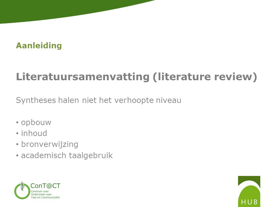 Literatuursamenvatting (literature review)