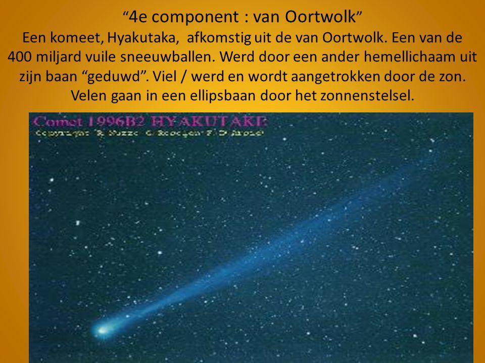 4e component : van Oortwolk Een komeet, Hyakutaka, afkomstig uit de van Oortwolk.