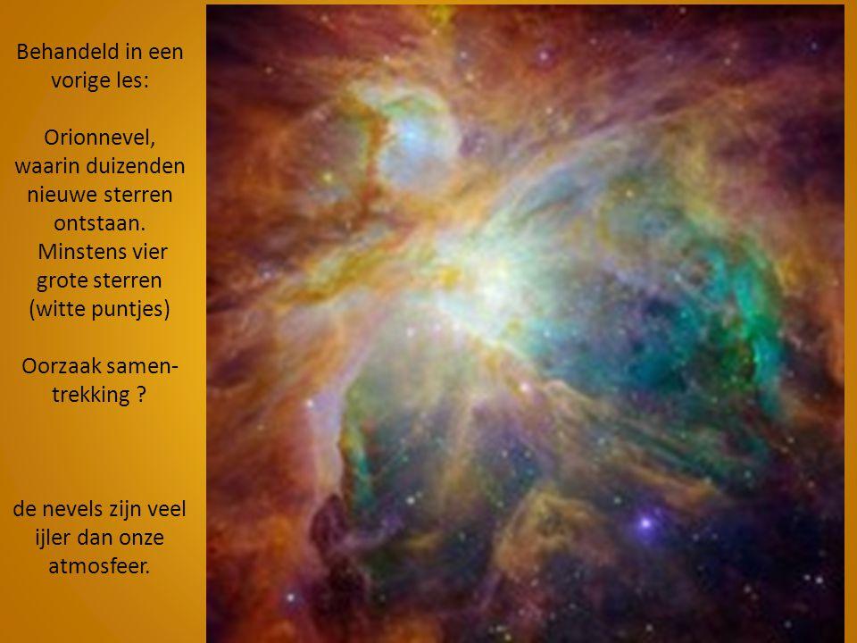 Behandeld in een vorige les: Orionnevel, waarin duizenden nieuwe sterren ontstaan.