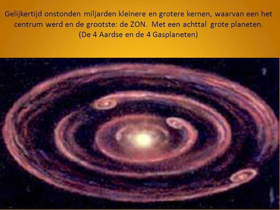 Gelijkertijd onstonden miljarden kleinere en grotere kernen, waarvan een het centrum werd en de grootste: de ZON.