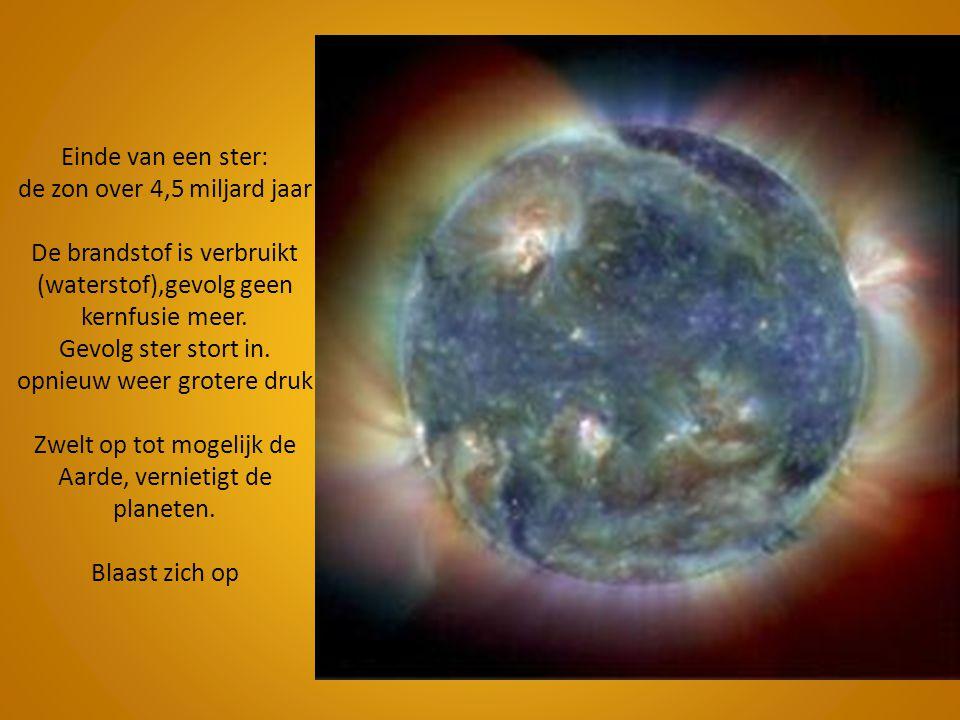 Einde van een ster: de zon over 4,5 miljard jaar De brandstof is verbruikt (waterstof),gevolg geen kernfusie meer.