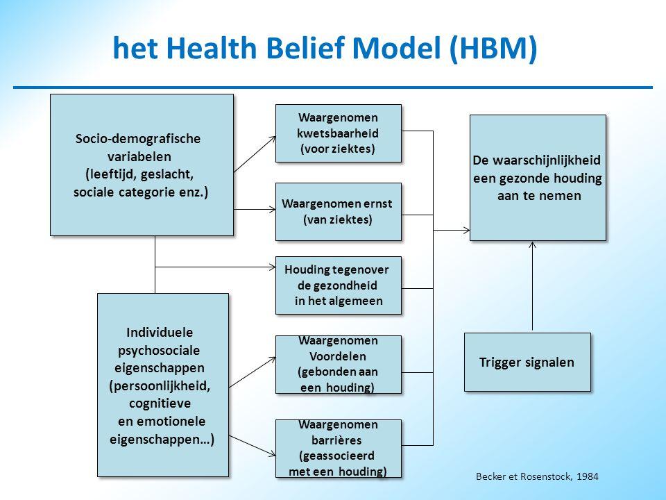 het Health Belief Model (HBM) sociale categorie enz.)