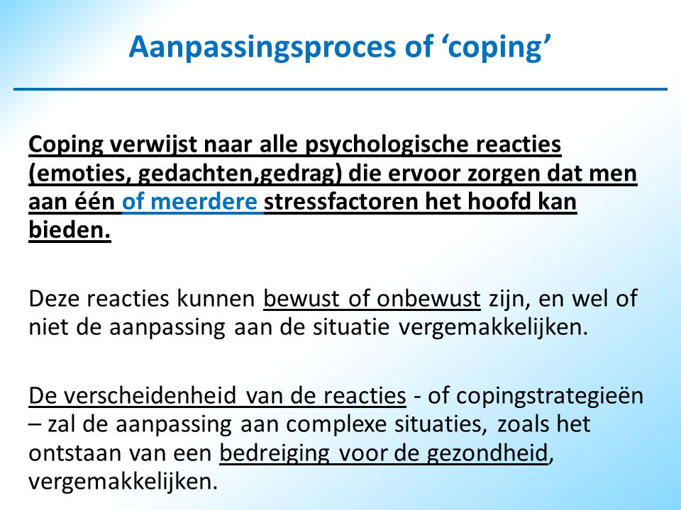 Aanpassingsproces of 'coping'