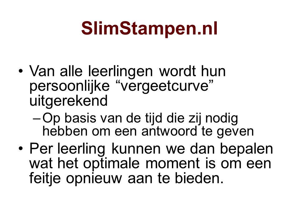 SlimStampen.nl Van alle leerlingen wordt hun persoonlijke vergeetcurve uitgerekend.