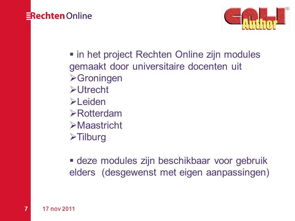 in het project Rechten Online zijn modules gemaakt door universitaire docenten uit