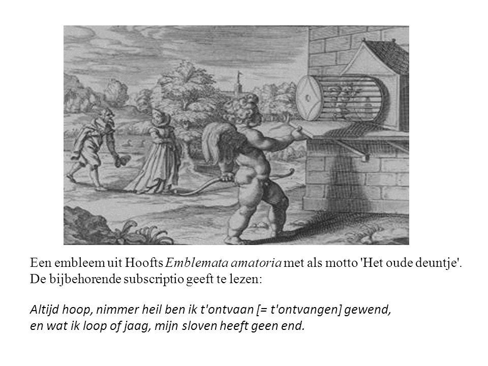 Een embleem uit Hoofts Emblemata amatoria met als motto Het oude deuntje . De bijbehorende subscriptio geeft te lezen: