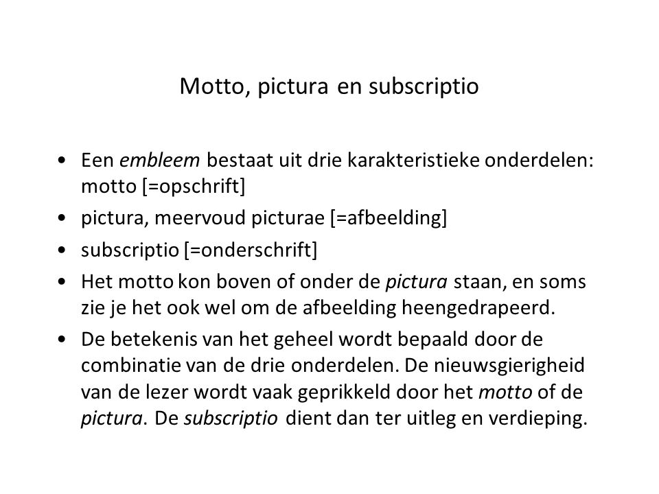 Motto, pictura en subscriptio