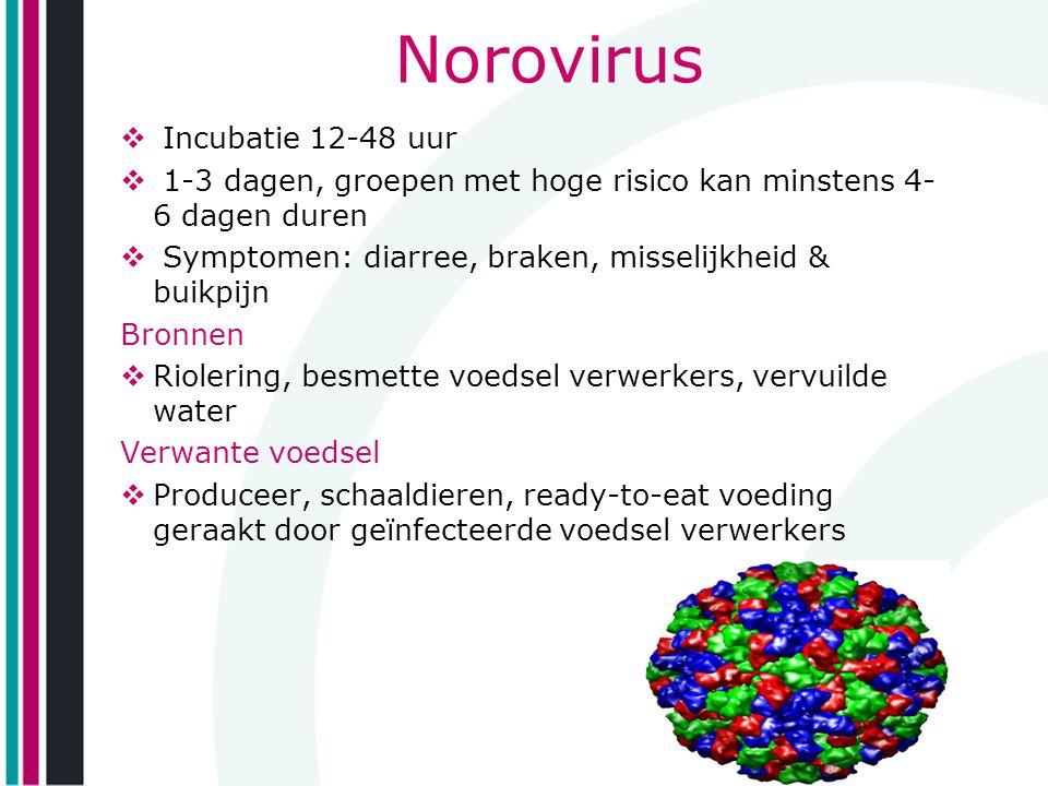 Norovirus Incubatie 12-48 uur