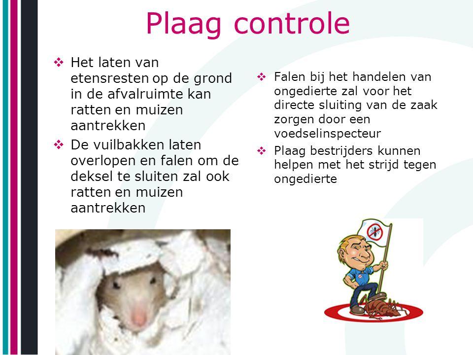 Plaag controle Het laten van etensresten op de grond in de afvalruimte kan ratten en muizen aantrekken.