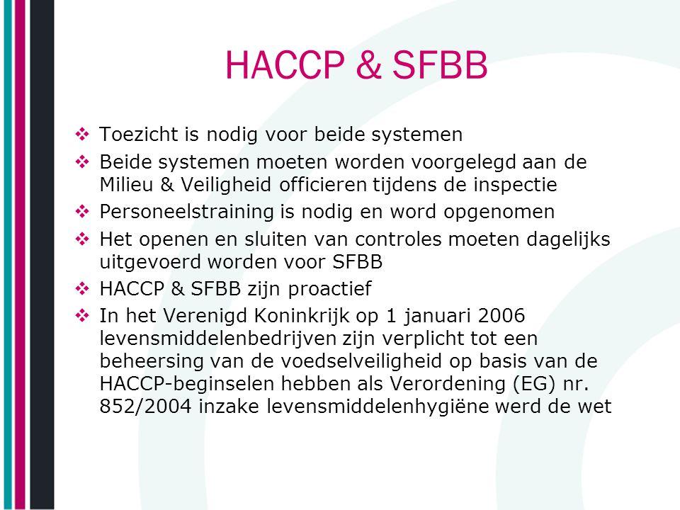 HACCP & SFBB Toezicht is nodig voor beide systemen